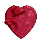 Heart Shaped Candy Box, Swirls and Bow, Satin, Red, 8 oz., QTY/CASE-12