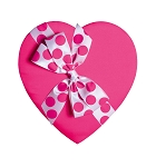 Heart Shaped Candy Box, Polka Dot Bow, Pink Satin, 8 oz., QTY/CASE-12