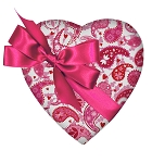 Heart Shaped Candy Box, Pink & White Paisley, Bow, 8 oz., QTY/CASE-12