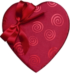 Heart Box, Swirls and Bow, Satin, Red, 1 lb., QTY/CASE-6