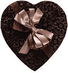 Heart Shaped Candy Box, Chocolate Velvet, Brown, 1 lb., QTY/CASE-6