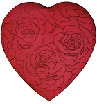Heart Box, Embroidered Rose, 1 lb. , QTY/CASE-6