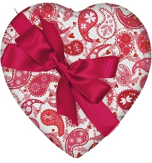 Heart Box, Pink & White Paisley, Bow, 1 lb., QTY/CASE-6