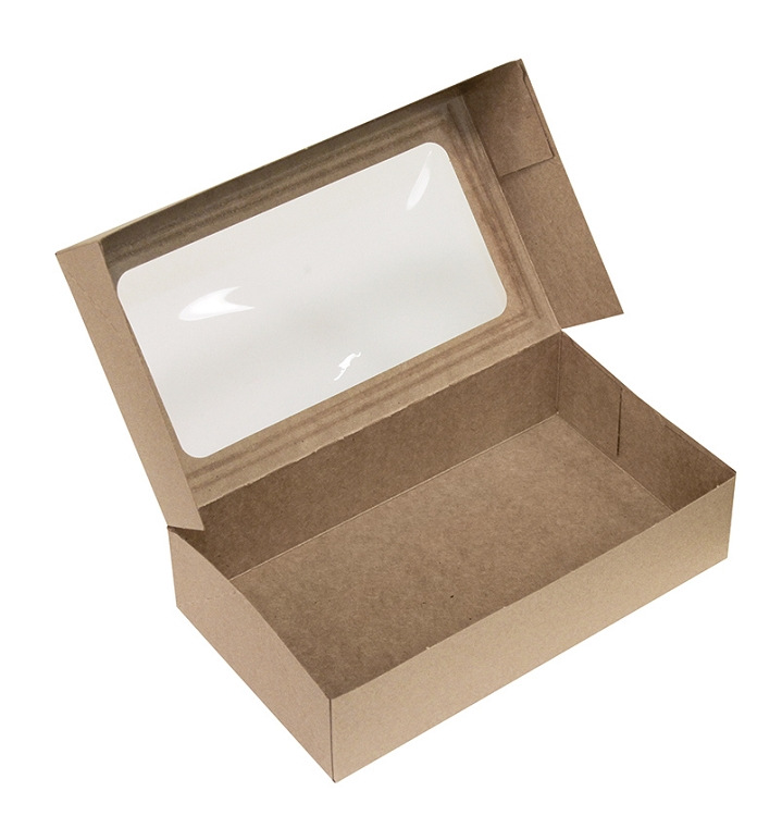 Folding carton auto lock pop up window bakery box kraft for 1 x 3 window