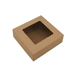 Bakery Box with Window, Kraft, 8 x 8 x 2-1/2