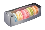 Macaron Box, Window, Metallic Silver, 6 x 1-3/4 x 1-3/4