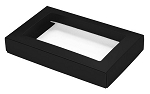 Folding Carton, This Top - That Bottom, Window Lid, 8 oz., Rectangle, Black, QTY/CASE-50