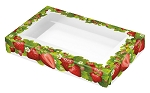Strawberry Fields, Decorative Lid with Window, Rectangle, 4-5/8 x 3-1/8 x 3-1/8