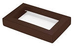 Folding Carton, This Top - That Bottom, Window Lid, 8 oz., Rectangle, Brown, QTY/CASE-50