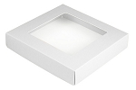Folding Carton, This Top - That Bottom, Window Lid, 8 oz., Square, White, QTY/CASE-50