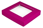 Folding Carton, This Top - That Bottom, Window Lid, 8 oz., Square, Hot Pink , QTY/CASE-50
