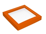 Folding Carton, This Top - That Bottom, Window Lid, 16 oz., Square, Orange, QTY/CASE-50