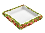 Strawberry Fields, Decorative Gift Box Lid with Window, 7-1/2 x 7-1/2 x 1-1/8