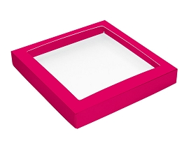 This Top - That Bottom, Window Lid, Square, Hot Pink, 7-1/2 x 7-1/2 x 1