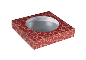 Plastic Box Outer Carton, Round Die Cut Window (no window film), Red Swirl, 6 x 6 x 1-1/4
