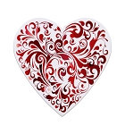 Heart Box, Truffle Depth, Red Swirl, 8 oz., QTY/CASE-12
