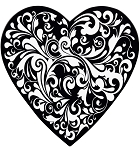 Heart Shaped Candy Box, Black Swirl, 1 lb., QTY/CASE-12
