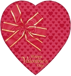 Heart Box, Red Foil Bow, 1-1/2 lb., QTY/CASE-12