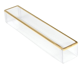 Clear Plastic Packaging, Rectangle, Gold Trim, 7-1/4 x 1-1/4 x 1-1/8