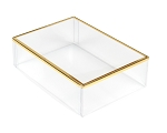 Clear Plastic Packaging, Rectangle, Gold Trim, 5 x 3-1/2 x 1-1/2, QTY/CASE-50