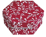 Rigid Set-up Box, Hexagon, 2-Tier, Holly Holiday, QTY/CASE-12