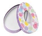 Rigid Set-up Box, Watercolor Polka Dots, Easter Egg Oval with Mylar Window, QTY/CASE-12