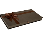 Rigid Set-up Box, Gift Box, Single-Layer, Magnetic Closure, Bow and Ribbon, Rectangle, 2 lb., Deco Bronze, 1-1/2