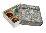Green Military Box, Decorative Gift Box, 3-1/2 x 3-1/2 x 1-1/8
