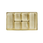 Tray, Rectangle, Gold, 8 oz., 6 Cavity, Mixed Shaped Cavities, QTY/CASE-50
