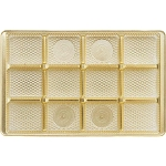 Tray, Rectangle, Gold, 16 oz., 12 Cavity, Square Cavities, 9-1/2 x 6 x 1