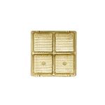 Tray, Square, Gold, 3 oz., 4 Cavity, 3-1/2 x 3-1/2 x 1