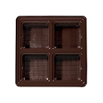 Tray, Square, Brown, 8 oz., 4 Cavity, QTY/CASE-50