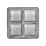 Tray, Square, Silver, 8 oz., 4 Cavity, 5-1/2 x 5-1/2 x 1