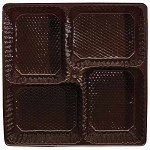 Tray, Pretzel, Square, Brown, 16 oz., 4 Cavity, QTY/CASE-50