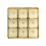 Tray, Square, Gold, 8 oz., 9 Cavity, 5-1/2 x 5-1/2 x 1