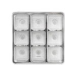 Tray, Square, Silver, 8 oz., 9 Cavity, 5-1/2 x 5-1/2 x 1
