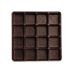 Tray, Square, Brown, 8 oz., 16 Cavity, 5-1/2 x 5-1/2 x 1