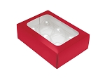 Folding Carton, Truffle Window Box, 6-Piece, Rectangle, Red, QTY/CASE-50
