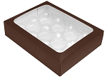 Folding Carton, Truffle Window Box, 12-Piece, Rectangle, Brown, QTY/CASE-50