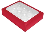 Folding Carton, Truffle Window Box, 12-Piece, Rectangle, Red, QTY/CASE-50