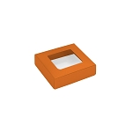 Folding Carton, This Top - That Bottom, Window Lid, 3 oz., Petite, Square, Orange, QTY/CASE-50