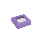 This Top - That Bottom, Window Lid, 3 oz, Square, Lavender, 3-1/2 x 3-1/2 x 1