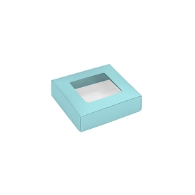 This Top - That Bottom, Window Lid, 3 oz, Square, Robin Egg Blue, 3-1/2 x 3-1/2 x 1