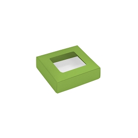 This Top - That Bottom, Window Lid, 3 oz, Square, Leaf Green, 3-1/2 x 3-1/2 x 1