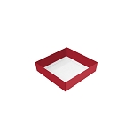 Folding Carton, This Top - That Bottom, Base, 3 oz., Petite, Square, Single-Layer, Red, QTY/CASE-50