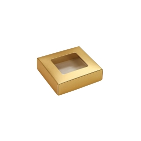 This Top - That Bottom, Window Lid, Square, Dark Metallic Gold, 3-1/2 x 3-1/2 x 1