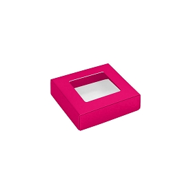 This Top - That Bottom, Window Lid, 3 oz, Square, Hot Pink, 3-1/2 x 3-1/2 x 1