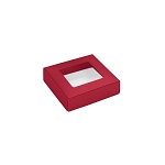 This Top - That Bottom, Window Lid, 3 oz, Square, Red, 3-1/2 x 3-1/2 x 1