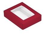 Folding Carton, This Top - That Bottom, Window Lid, 4 oz., Rectangle, Red, QTY/CASE-50