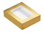 Folding Carton, This Top - That Bottom, Window Lid, 4 oz., Rectangle, Metallic Gold, QTY/CASE-50